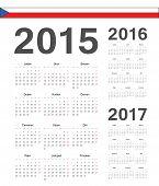 Set Of Czech 2015, 2016, 2017 Year Vector Calendars