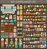 pic of supermarket  - Image consisting of a set of products people and building a supermarket - JPG