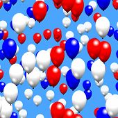 Red white blue party air balloons on sky