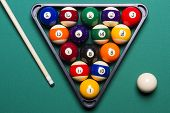 Billiard Balls Arranged In A Triangle Viewed From Above
