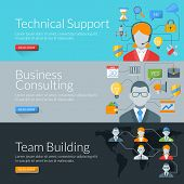 Flat Design Concept For Technical Support, Business Consulting And Team Building. Vector Illustratio