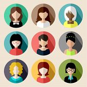 Set Of Round Flat Icons With Women.