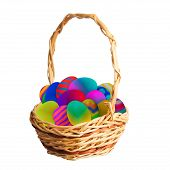 Multi-colored Easter Eggs In A Basket
