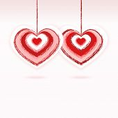 image of two hearts  - Two hearts on a string drawn with a brush - JPG