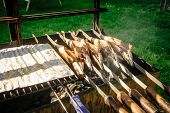Fish On Stick On A Grill