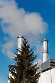 chimney of an industrial company with tree. symbolic photo for environmental protection and ozone.