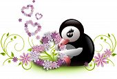 Penguin With Floral Hearts