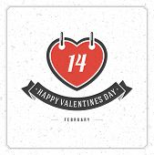 Happy Valentine's Day Vintage Greetings Card Design.  Textured paper vector background and retro typography.