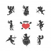 Set of vintage cute cupid silhouettes and hearts vector illustration
