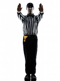 pic of referee  - american football referee gestures in silhouette on white background - JPG