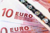 foto of ten  - Background from ten euro banknotes - JPG