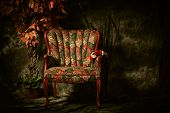 picture of edwardian  - An empty antique patterned chair shot in a chiaroscuro lighting style sitting next to artificial plant - JPG