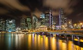 image of singapore night  - Night scene of Singapore cityscape showing the newly built Jubilee Bridge linking Merlion Park and the waterfront promenade - JPG