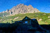 picture of chalet  - Mountain Chalet Reflected In The Water - JPG