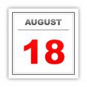 stock photo of august calendar  - August 18 - JPG