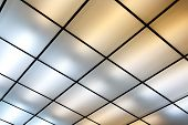 stock photo of fluorescent  - Fluorescent lamps on the modern ceiling - JPG