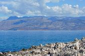 stock photo of albania  - Landscape with sea and mountains in Albania - JPG