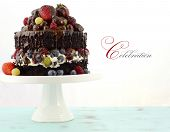 picture of shabby chic  - Deliciously divine chocolate cake with strawberries blueberries raspberries and grapes and cream on pale blue shabby chic table - JPG