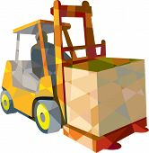 picture of lift truck  - Low polygon style illustration of a forklift truck and driver at work lifting handling box crate set on isolated white background - JPG