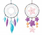 picture of dreamcatcher  - Two vector isolated dreamcatchers with feathers and flowers - JPG