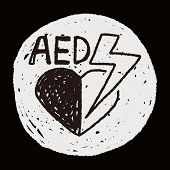 stock photo of defibrillator  - Aed Doodle - JPG