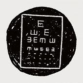 stock photo of snellen chart  - Eye Test Doodle - JPG