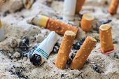 picture of butts  - close up of Cigarettes butt in ashtray - JPG