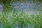 stock photo of emerald  - Retro wall made from emerald mosaic tile - JPG
