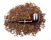 image of tobacco smoke  - Smoking pipe with tobacco isolated on white - JPG