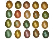 picture of priceless  - bright colorful easter yellow green red pink eggs arranged in rows isolated on a white background - JPG