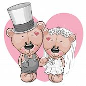 foto of teddy  - Teddy Bride and Teddy groom on a heart background - JPG