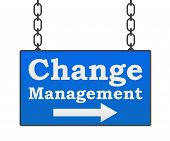 foto of change management  - Change management concept image with text written over signboard - JPG