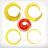image of stroking  - Watercolor vector illustration or banner with red and yellow ring brush strokes on white background - JPG