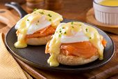 picture of chive  - A delicious eggs benedict with smoked salmon hollandaise sauce and chives - JPG