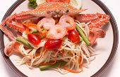 picture of green papaya salad  - Papaya salad seafood and red crub is spicy food - JPG