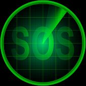 pic of sos  - Illustration of radar screen with the word SOS - JPG