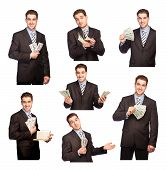 picture of bosoms  - Man with money set isolated on white background - JPG