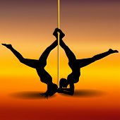 pic of pole dancer  - Two Pole dancers with long and short hair on the pole on the yellow  - JPG
