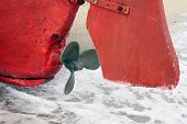 stock photo of old boat  - Boat engine propeller - JPG