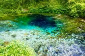 stock photo of albania  - National landmark spring Blue Eye in Albania - JPG