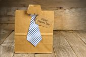 pic of gift wrapped  - Fathers Day handmade shirt and tie gift bag with greeting card on a wood background - JPG