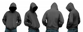 image of hoodie  - Set of man in hoodie isolated over white background - JPG