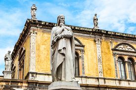 pic of alighieri  - Statue of Dante Alighieri in a summer day in Verona Italy