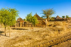 stock photo of bans  - View at the houses in a small village at the road from Rashid to Ban in Sudan - JPG