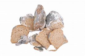 image of smut  - Mouldy bread isolated on a white background - JPG