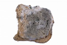 stock photo of smut  - Mouldy bread isolated on a white background - JPG