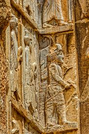 picture of zoroastrianism  - Royal tomb detail on the corner - JPG
