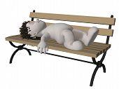 Boris 3D personagem dormindo no banco do Parque