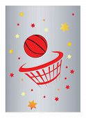 pic of basketball  - a basketball and net with silver background - JPG