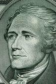 Close-up de uma nota de dez dólares